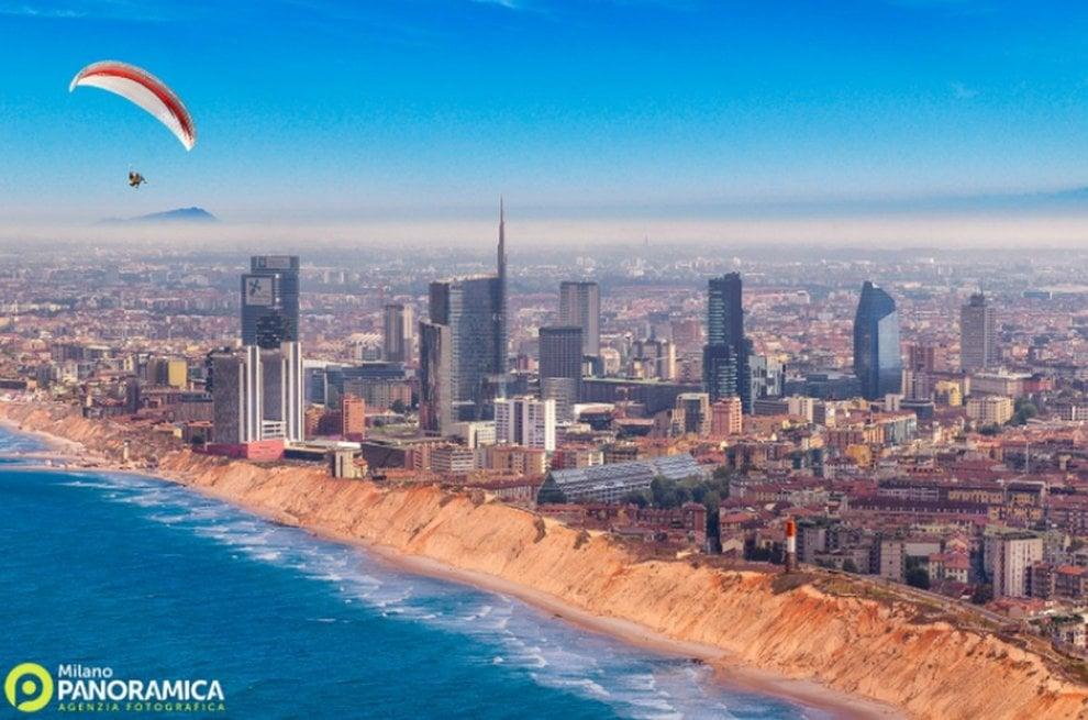 """""""Milano beach"""" con i grattacieli vista mare, il gioco fotografico dell'estate"""