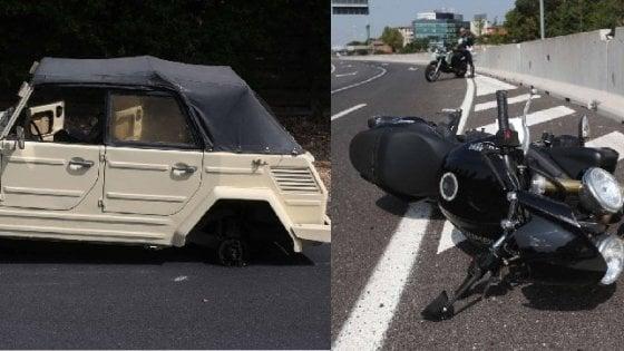 Milano, auto d'epoca perde una ruota sul cavalcavia: colpito un 39enne in moto, morto