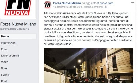 Milan, the Forza Nuova ronda in the neighborhood where an old woman was raped