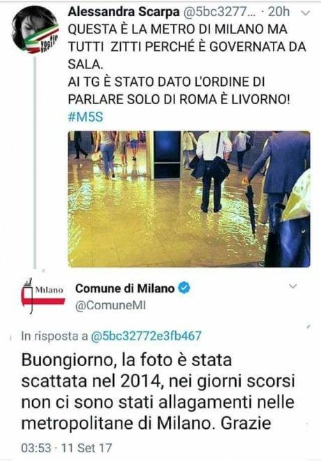 """Maltempo, la grillina scivola su Twitter: """"Milano allagata, ma si parla solo di Roma"""". La foto è del 2014"""