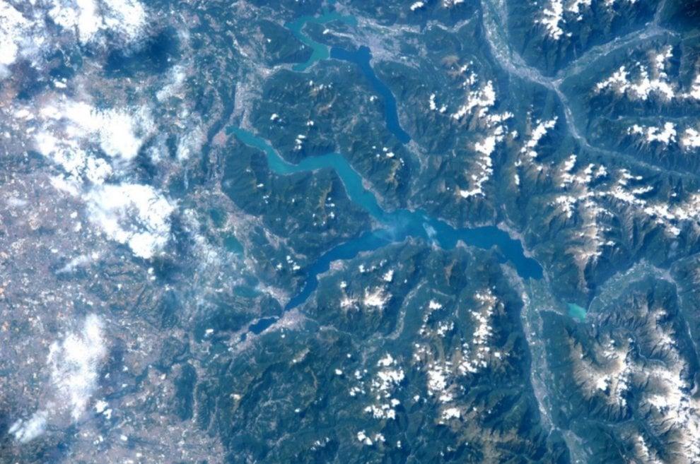 Il Lago di Como visto dallo spazio nello scatto di Paolo Nespoli