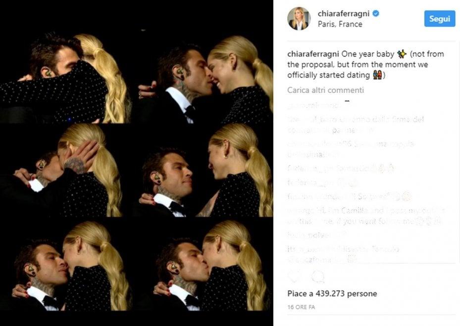 Fedez-Ferragni, un anno d'amore: l'anniversario corre su Instagram