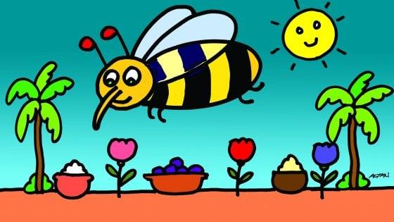 Fame nel mondo, i bimbi delle scuole di Milano in piazza e in mensa con l'ape di Altan