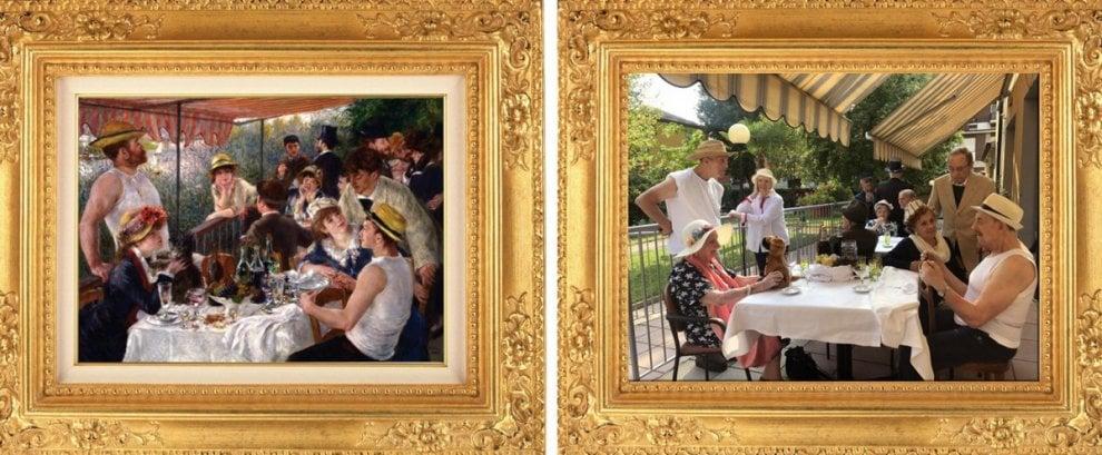 Milano, trova le differenze: gli anziani della casa di riposo in posa, come nei grandi classici