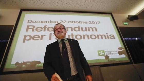 Referendum autonomia, tempi brevi per la trattativa: Maroni a Roma tra due settimane