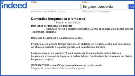 """Cercasi domestica 'bergamasca o lombarda': """"Consideriamo il dialetto un plus"""""""