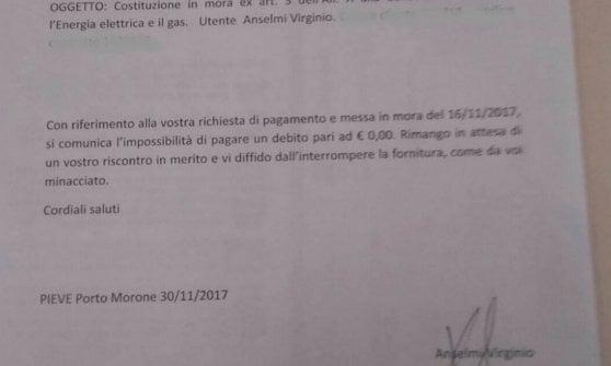 """Sindaco del Pavese riceve una bolletta da zero euro: """"Paga o togliamo la luce"""""""