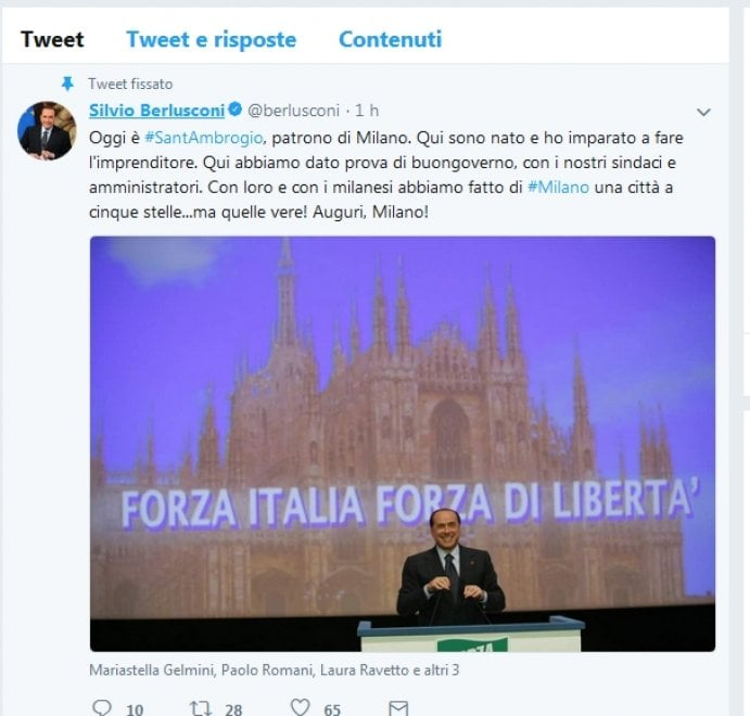 """Sant'Ambrogio, Berlusconi twitta gli auguri a Milano: """"Una città a cinque stelle...ma quelle vere!"""""""
