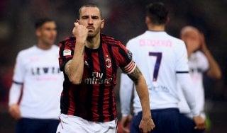 Milan-Crotone 1-0: risolve Bonucci con un gol per caso
