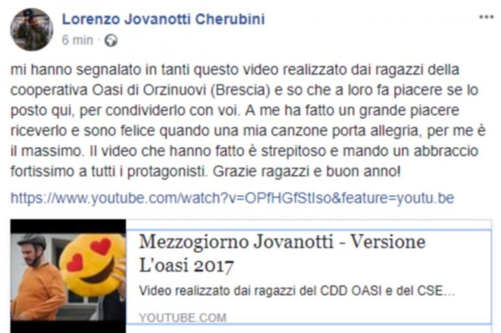 Jovanotti ringrazia i ragazzi del centro disabili di Orzinuovi per il video 'cover'