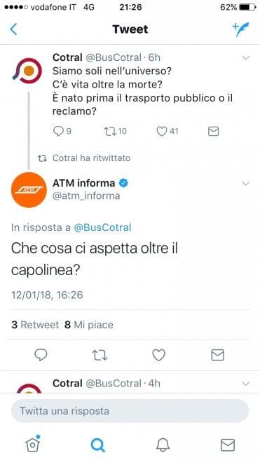 Botta e risposta ironici tra Atm e Cotral di Roma e qualche utente non gradisce