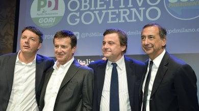 """Elezioni, Renzi e Calenda con Gori e Sala:  """"L'obiettivo è governare""""   · video     · foto"""