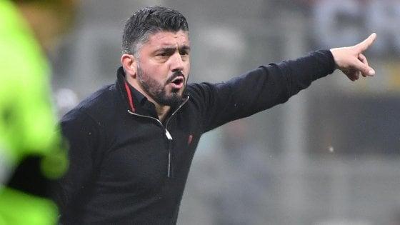Milan, Gattuso: ''Rimonta Champions? Non siamo neanche in Europa League''