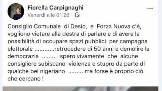 """Post shock su Fb della candidata di Forza Nuova: """"Spero che alcune consigliere vengano stuprate da qualche bel nigeriano"""""""