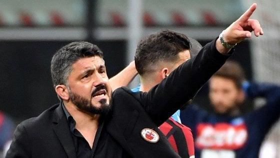 Milan Gattuso''Pochi gol ma giochiamo meglio. Calhanoglu? Lo vedo alla Pirlo