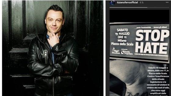 """""""Stop hate"""": Tiziano Ferro rilancia, basta all'omofobia e al cyberbullismo"""