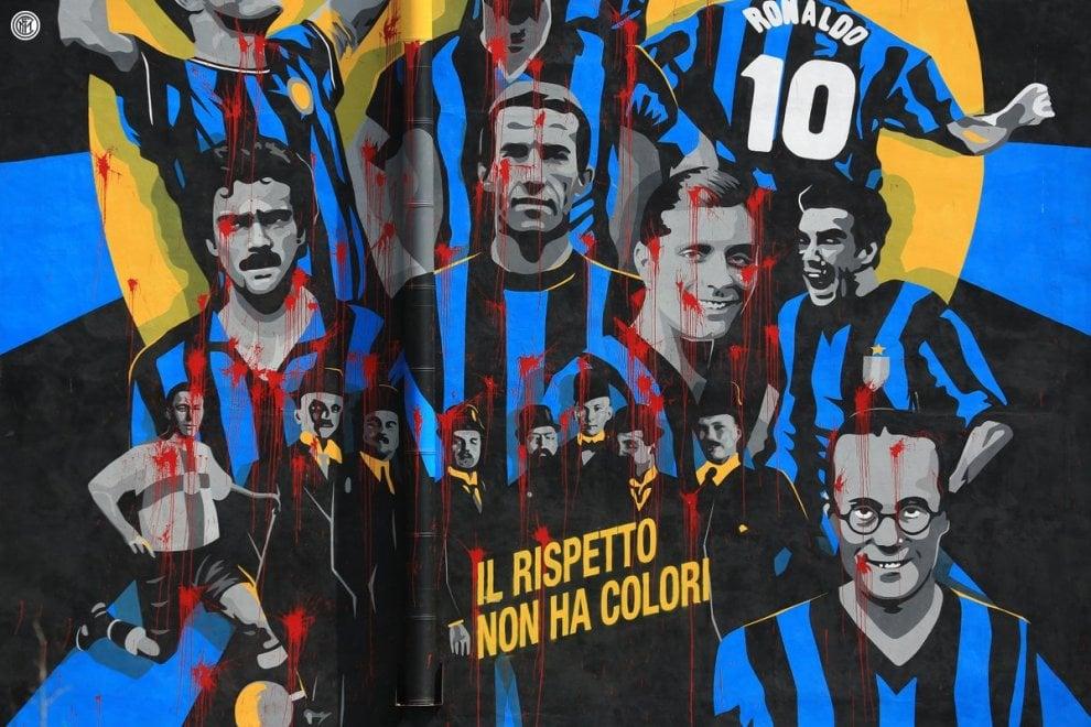 """Inter Wall vandalizzato, la risposta dei neroazzurri è sul murale: """"Il rispetto non ha colori"""""""