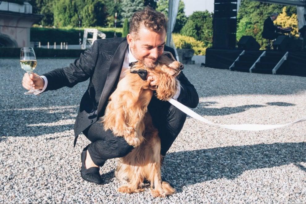 Il matrimonio di Filippa Lagerback e di Daniele Bossari: il paggetto è il cocker Whisky