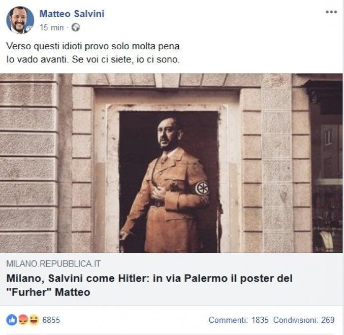 """Matteo Salvini replica su Facebook: """"Io come Hitler? Provo pena per questi idioti"""""""