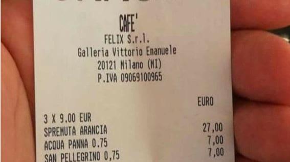 Lo scontrino di Cracco: sui social esplode   la polemica della spremuta a 27 euro