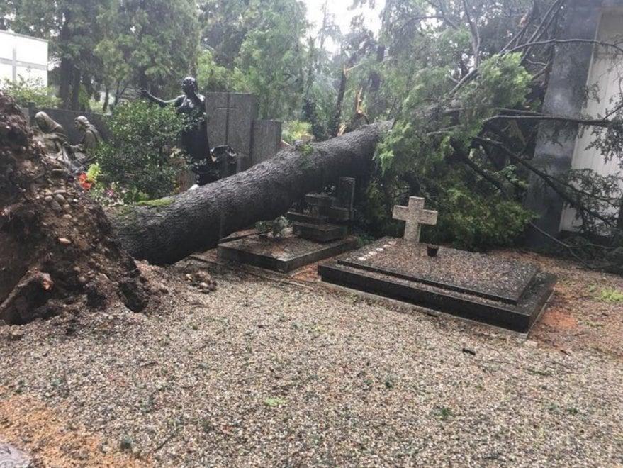 """Nubifragio a Monza, danni al cimitero: """"Chiuso per gran"""