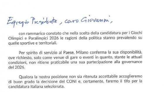 """Olimpiadi 2026, Milano sfida la politica e si smarca. Sala: """"Disponibili solo a ospitare gare o eventi"""""""