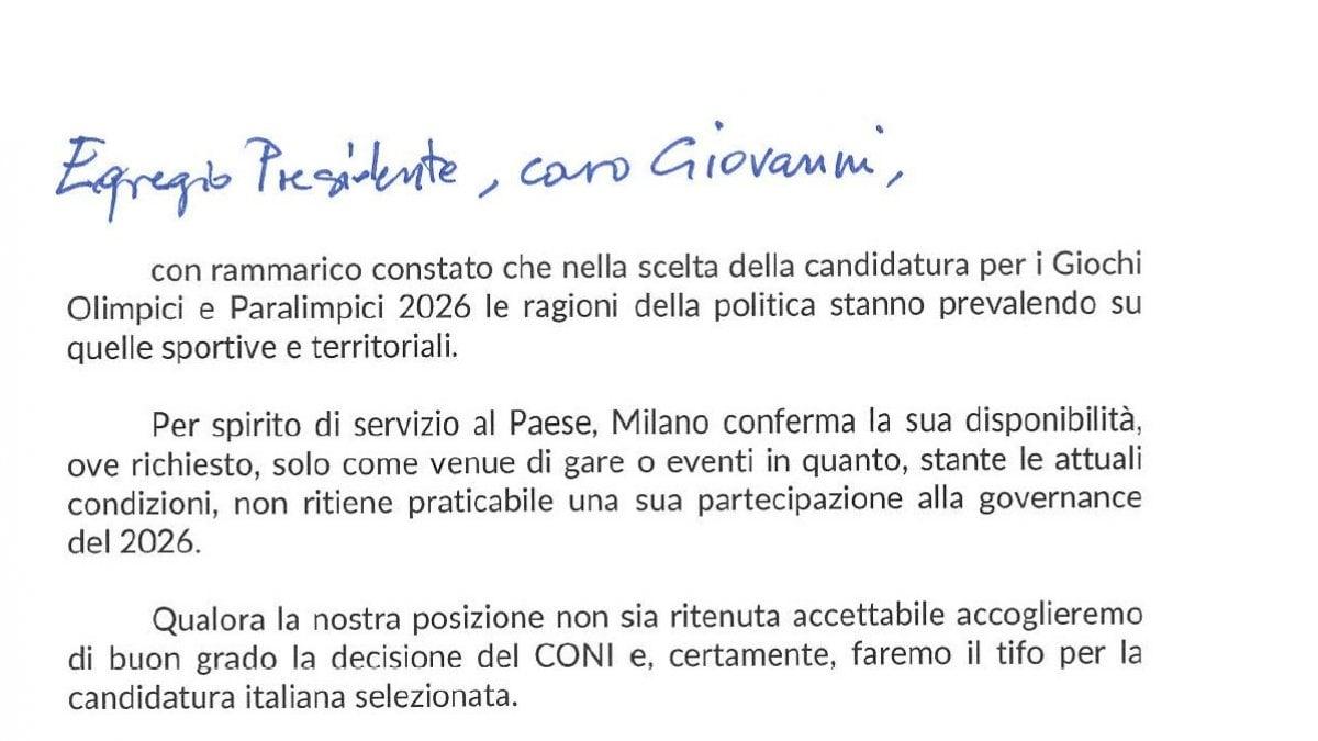 """""""Egregio presidente, caro Giovanni, con rammarico constato che nella scelta"""