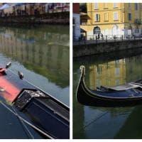 Milano, finisce sott'acqua la gondola sui Navigli: maltempo o vandali?