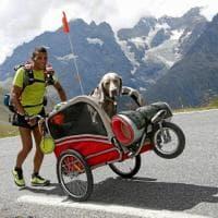 Da Lodi ad Aosta, 1000 km a piedi con il cane nel carrellino: il viaggio di Mikhael e Victor