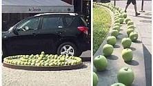 """Sorpresa a Brescia: le vie del centro """"invase""""    da centinaia di mele"""