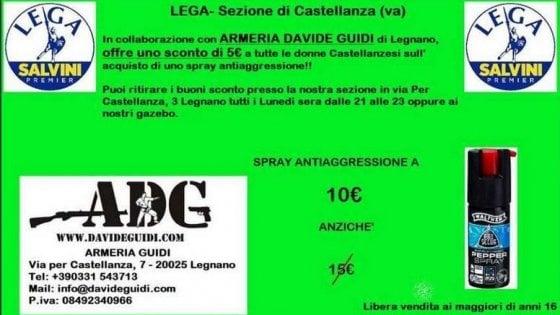 Varese, buoni sconto alle donne per lo spray al peperoncino: l'idea della Lega fa discutere