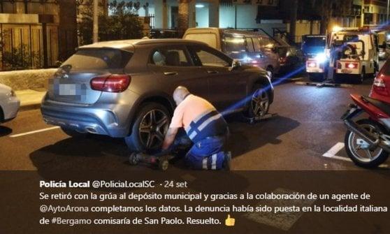 Mercedes rubata a Bergamo ricompare a Tenerife: l'appello della polizia sui social