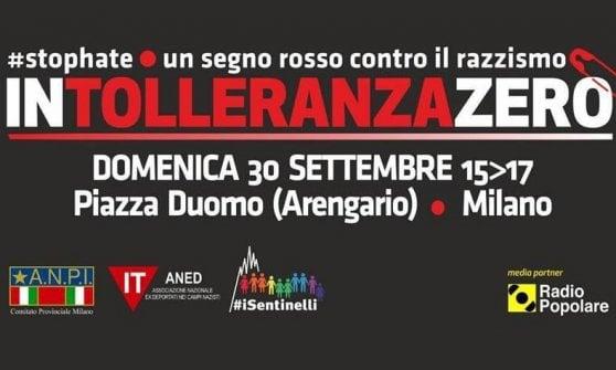 """Milano, magliette rosse in Duomo: sui social l'onda di """"Intolleranza zero"""""""