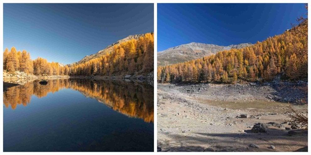 """Sondrio, caldo record: l'allarme sui social, """"Il lago Azzurro non c'è più"""""""