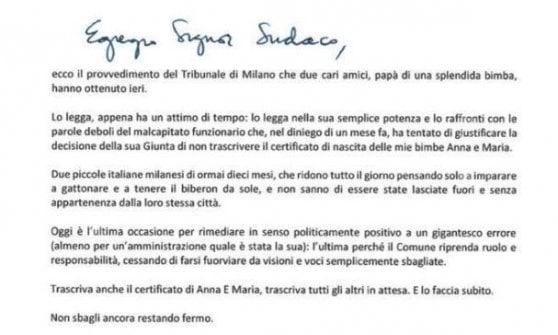 Una lettera al sindaco di Milano Beppe Sala. Per chiedergli di dare alle sue due bambine il diritto di essere italiane e di risultare, anche per lo Stato, figlie di […]