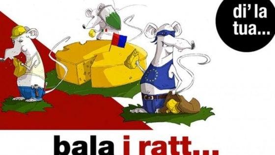 Manifesti razzisti in Canton Ticino: gli italiani come topi