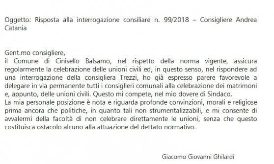 """Unioni civili, il sindaco di Cinisello fa obiezione di coscienza. Il Pd: """"Dovrebbe rappresentare tutti"""""""