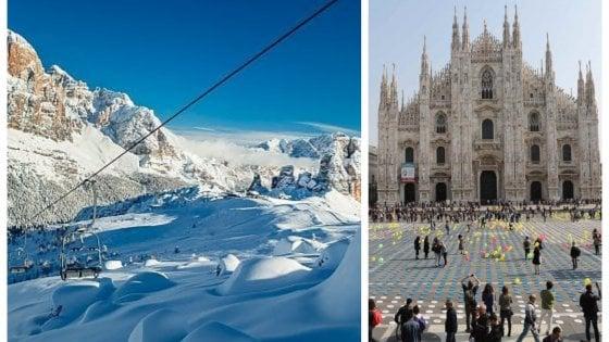 Duomo e Olimpiadi: Milano e Cortina volano a Tokyo con il logo per le Olimpiadi invernali 2026