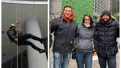 """I neofascisti scalano Palazzo Lombardia:  i """"Lupi delle vette"""" guide d'arrampicata"""