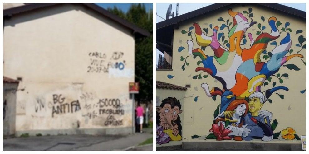 Da così a così: a Bergamo gli abitanti di un quartiere arruolano uno street artist per riqualificare i loro muri