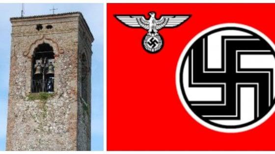 Bandiera nazista sulla torre campanaria, comune mantovano sotto shock