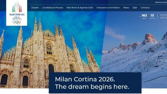 """Milano-Cortina, on line dalle 20:26 il sito della candidatura olimpica: """"Il sogno comincia qui"""""""