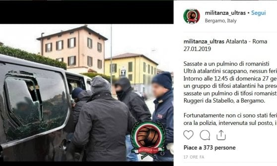 Bergamo, minivan di tifosi giallorossi preso a sassate prima di Atalanta-Roma