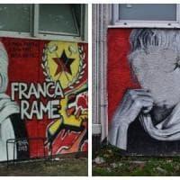 Vernice bianca e croce celtica, imbrattato a Milano il murale per Franca Rame