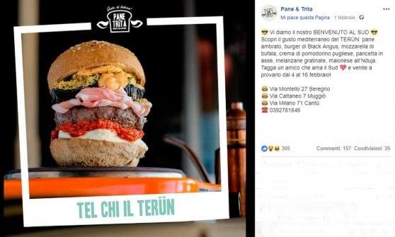 """Nasce in Brianza il panino 'Terun', è polemica tra Nord e Sud: """"Fomenta il razzismo"""", """"No, è autoironia"""""""