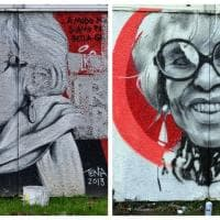 Il sorriso di Franca Rame torna sui muri del liceo Agnesi a Milano: rifatto il murale vandalizzato