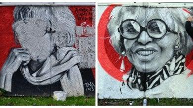 Ft  Il sorriso di Franca Rame torna sui muri dell'Agnesi: rifatto il murale vandalizzato