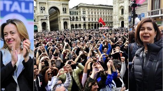 """Meloni-Boldrini, polemica via Twitter sulla marcia per i diritti di Milano: """"Non tutti vivono per odiare"""""""