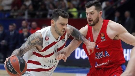 Basket, Cska troppo forte: Milano sconfitta a Mosca 101-95