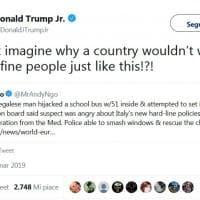 """Autista dirotta bus e appicca il fuoco a Milano, il tweet di Trump jr: """"Perchè accogliere persone come lui?"""""""